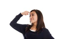 Preteen girl thinking Stock Photos