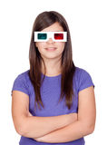 Preteen girl with three-dimensional glasses Stock Images