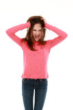 Preteen girl yelling Stock Images
