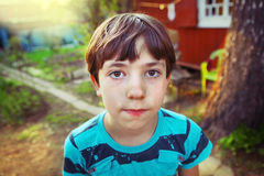 Preteen handsome boy country spring portrait Royalty Free Stock Images