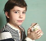 Preteen handsome boy drink milk with mustache Royalty Free Stock Photos