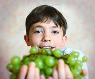 Preteen handsome boy with  green grapes close up portrait Stock Photography