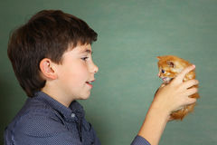 Preteen handsome boy hold little red kitten stock photos
