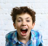 Preteen handsome boy shouting Royalty Free Stock Image