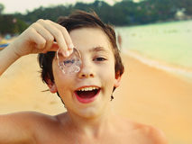 Free Preteen Handsome Boy With Jellyfish Stock Photos - 81449853