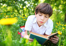 Preteen handsome keen boy red and old book in the summer park wi. Th dandelion flowers royalty free stock photography