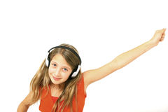 Preteen with headphone Royalty Free Stock Image