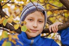 Preteen pojke i höst arkivfoto