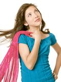 Preteen School Girl With Scarf. Pretty preteen school girl model Royalty Free Stock Images