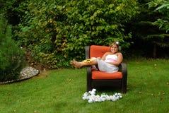 Preteen Sitting Outside Portrait Stock Image