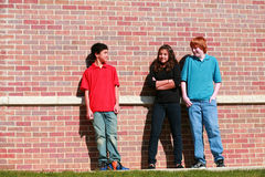 Preteens in front of brick wall. Diverse group of three teens hanging out Stock Image