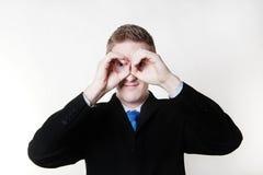 Pretend binoculars Stock Photo