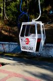 Pretend cable car on Pindi Point chairlift in Murree North Pakistan. Murree, Pakistan - January 15, 2018: An artificial or fake cable car at the Pindi Point Stock Image