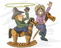 Pretend cowboys. This illustration that I created depicts a man on a rocking horse and a woman on a stick pony Stock Photos