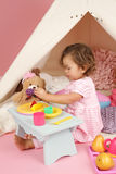 Pretend Play Tea Party at home with a TeePee Tent Royalty Free Stock Photo