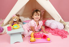 Pretend Play Tea Party at home with a TeePee Tent Royalty Free Stock Photography