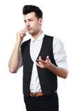 Pretend talking telephone. Man holding pretend talking telephone over white Stock Photography