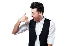 Pretend talking telephone. Man holding pretend talking telephone over white Stock Photo