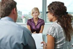 Pretendente durante a entrevista de trabalho fotografia de stock