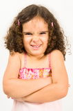 Pretending to be angry. Child with a funny expression pretending to be angry Stock Photo