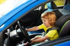 Pretending to be a big boy driving Stock Photos