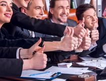Pretense in business. People office life of team thumb up . Royalty Free Stock Photos
