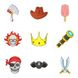 Pretense icons set, cartoon style Stock Images