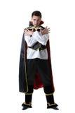 Pretentious man posing in costume of illusionist Stock Photos
