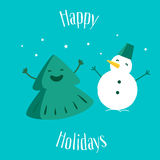 Pretkerstboom met sneeuwman Gelukkige Vakantie De kaart van de groet Vector illustratie Royalty-vrije Stock Fotografie