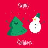 Pretkerstboom met sneeuwman op rode achtergrond Gelukkige Vakantie De kaart van de groet Vector illustratie Stock Afbeeldingen