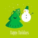 Pretkerstboom met weinig boom en sneeuwman Gelukkige Vakantie Vector illustratie Royalty-vrije Stock Afbeelding