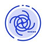 Preto, cosmos, campo, galáxia, linha pontilhada azul gravitacional linha ícone ilustração do vetor