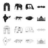 Preto da Índia do país, ícones do esboço na coleção do grupo para o projeto A Índia e o marco vector a ilustração conservada em e ilustração royalty free