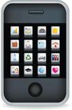 Preto da tela de toque do telefone móvel Fotografia de Stock