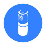Preto do ícone do cartucho do gás Único ícone da munição grande, braços da arma ajustados ilustração royalty free