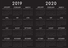Preto 2019-2020 do calendário Backgrounded imagem de stock