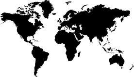 Preto do mapa de mundo Imagens de Stock Royalty Free
