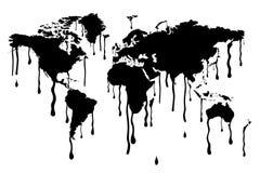 Preto do mapa do mundo que derrete o aviso ambiental ilustração do vetor