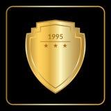 Preto do ouro do emblema do protetor Fotografia de Stock Royalty Free