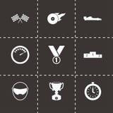 Preto do vetor que compete os ícones ajustados Imagens de Stock Royalty Free