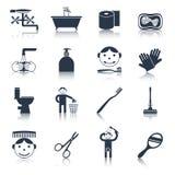 Preto dos ícones da higiene Fotografia de Stock