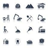 Preto dos ícones da indústria de carvão ilustração stock