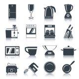 Preto dos ícones dos dispositivos de cozinha ilustração do vetor