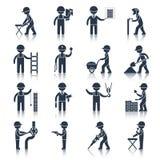 Preto dos ícones do trabalhador da construção Fotos de Stock