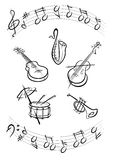 Preto dos instrumentos de música Foto de Stock Royalty Free