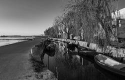 Preto e branco, Albufera de Valência, Espanha imagem de stock