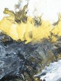 Preto e branco com backgroun pintado à mão do sumário do mármore do ouro fotos de stock