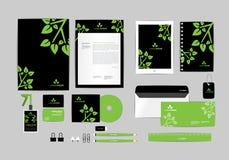 Preto e branco com molde da identidade corporativa das folhas para seu negócio Fotos de Stock