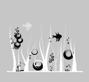 Preto e branco com os peixes Imagens de Stock