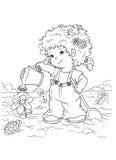 Preto e branco - criança no jardim ilustração stock
